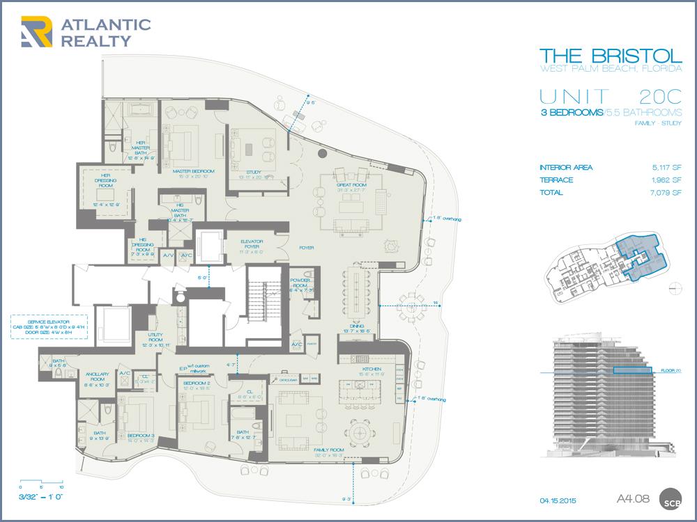 The bristol palm beach new miami florida beach homes for Floor plans florida
